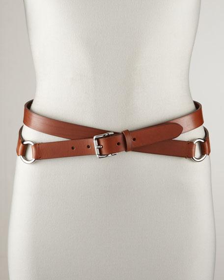 Double-Wrap Leather Belt, Tan