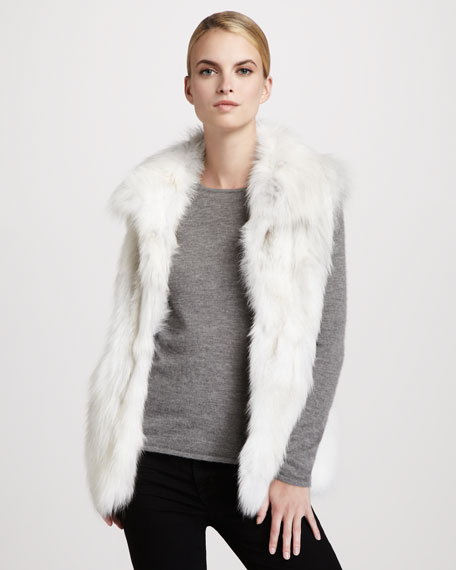 Stand-Collar Fox Fur Vest, White