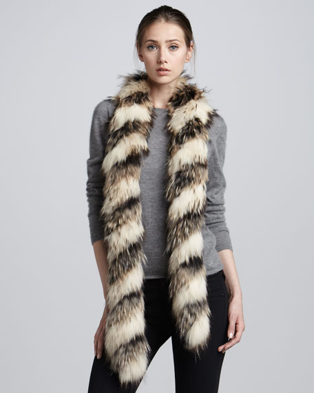 Extra-Long Twisted Raccoon Fur Scarf, Black/Natural
