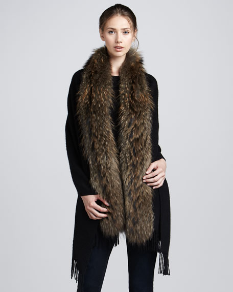 Raccoon Fur-Trim Cashmere Stole, Black/Natural