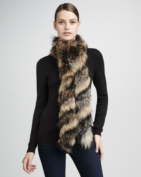 Extra-Long Twisted Raccoon Fur Scarf, Ivory