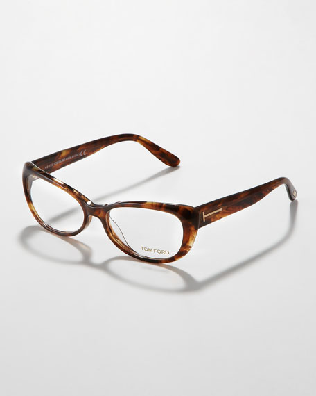 Soft Cat-Eye Fashion Glasses,  Brown Havana