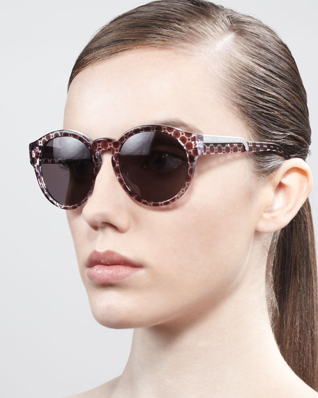 Round Dot-Print Enamel Sunglasses, Red