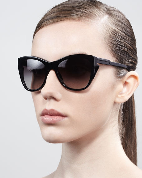 Squared Cat-Eye Sunglasses, Black