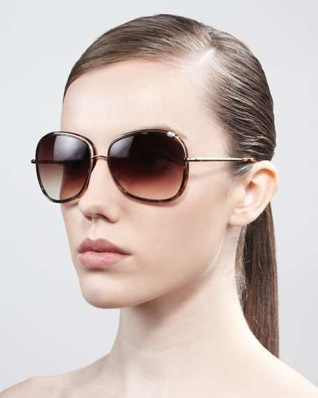 Emely Round Enamel & Metal Sunglasses, Brown