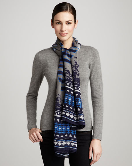 Aspen Voile Scarf, Navy