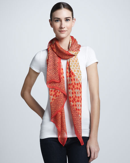 Isabelle Mixed-Print Scarf