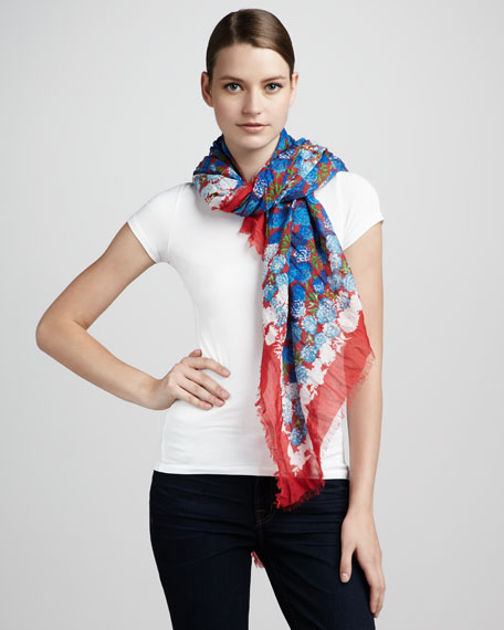 Floral-Print Scarf, Red