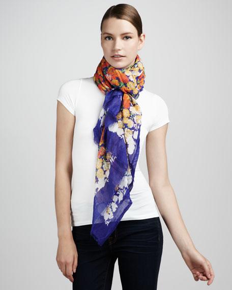 Floral-Print Scarf, Violet