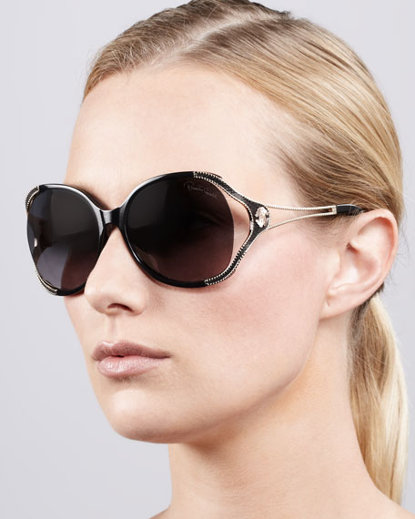Open-Temple Snake-Print Sunglasses, Black/Rose Golden