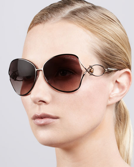 Open-Temple Butterfly Sunglasses, Rose Golden