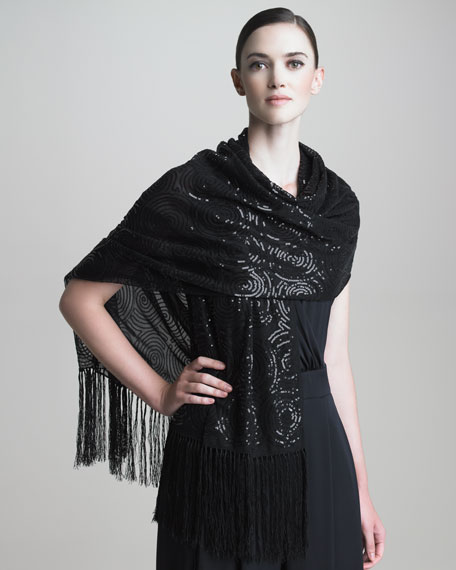 Optical Sequined Silk Stole