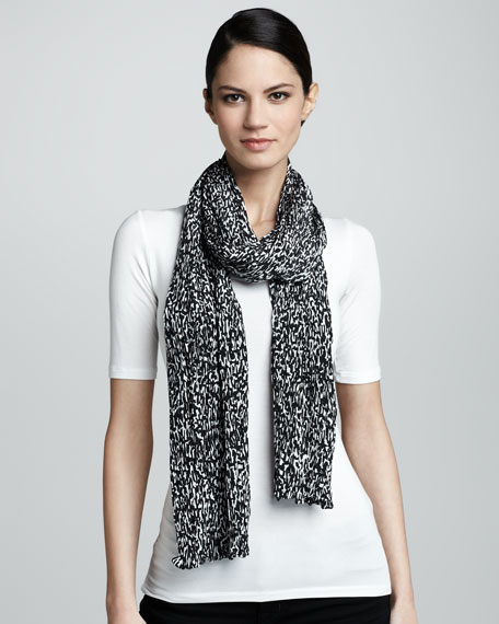 Static-Print Silk Scarf, Black/White