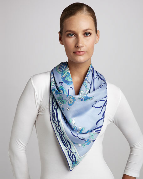 Papilio Butterfly Scarf, Sky Blue