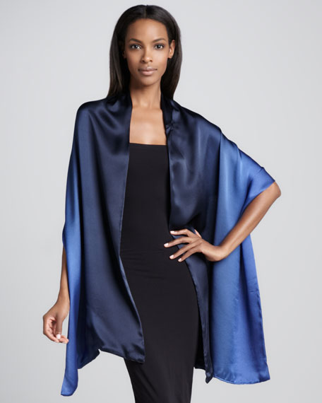 Ombre Silk Satin Wrap, Navy