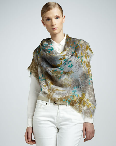 Scialle le Ginestre Floral Scarf, Oil/Gold
