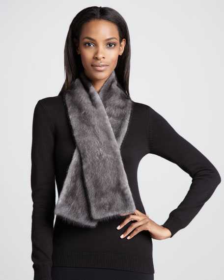 Mink Fur Scarf, Gray