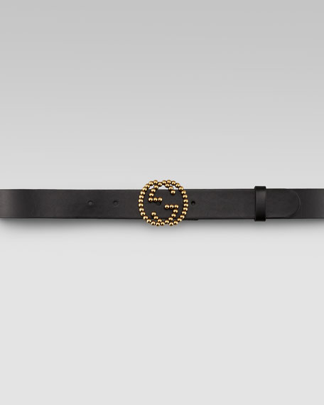 GG Buckle Leather Belt, Nero
