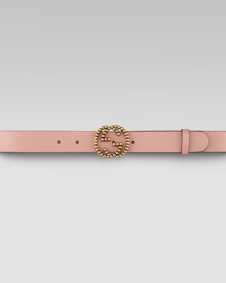 GG Buckle Leather Belt, Dark Cipria