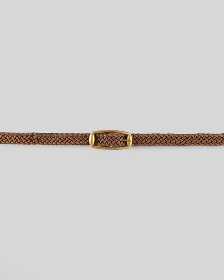 Braided Leather Belt, Acero