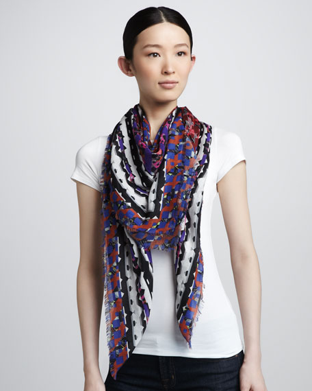 Geometric-Print Scarf, Red