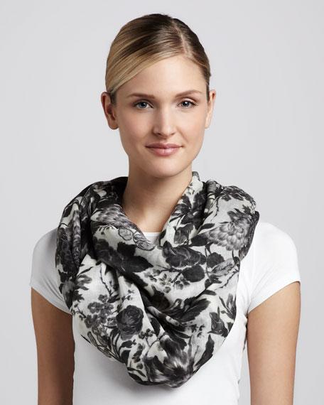 Floral-Print Scarf, Black/White