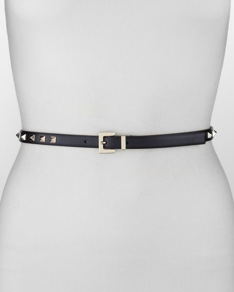 Rockstud Skinny Belt, Black