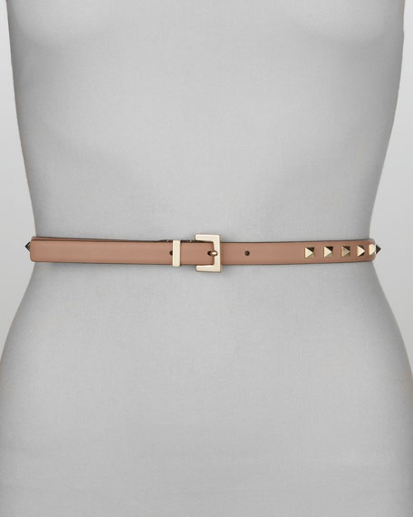 Rockstud Studded Skinny Belt, Noisette