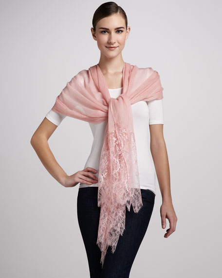 Lace Wool Shawl, Rose Pink