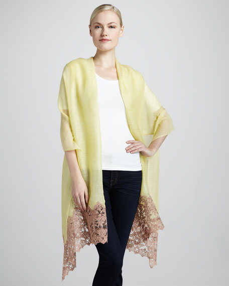 Romantic Lace Floral Shawl, Citrine
