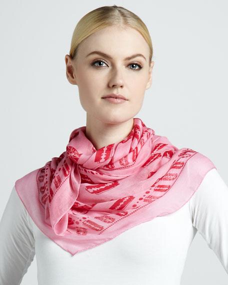 Razor Blade-Print Scarf, Hot Pink