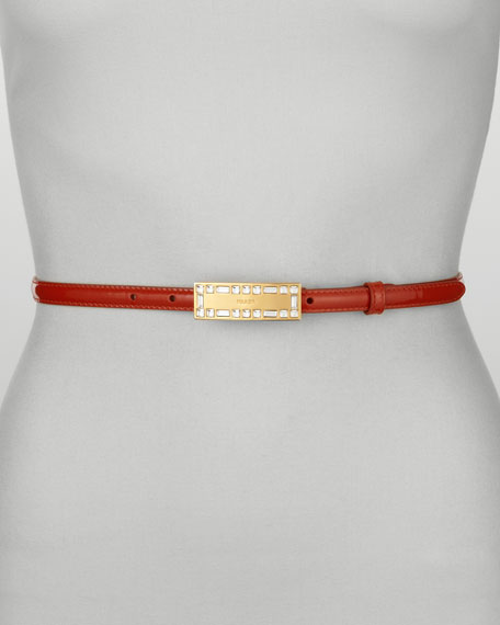 Crystal-Buckle Vernice Belt, Arancio