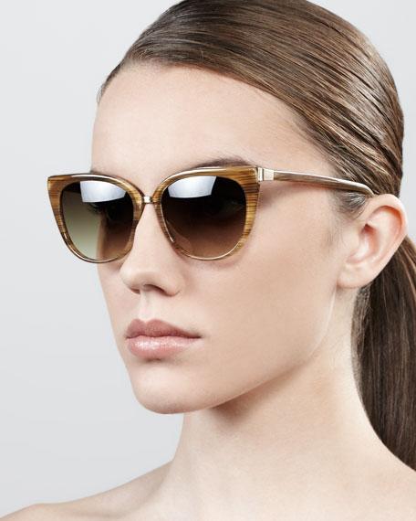 Ronette Soft Cat-Eye Sunglasses, Horn