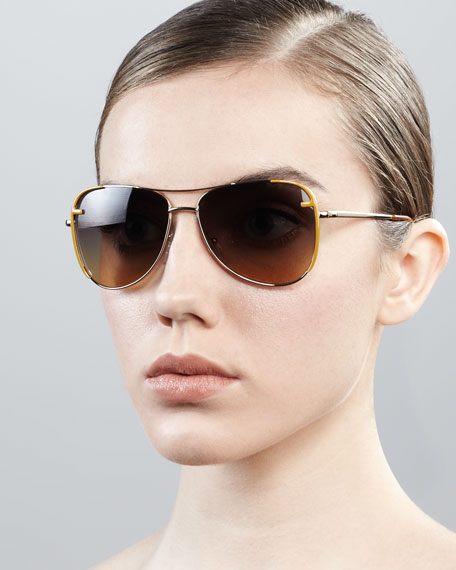 Zucca-Trim Aviator Sunglasses, Golden/Yellow