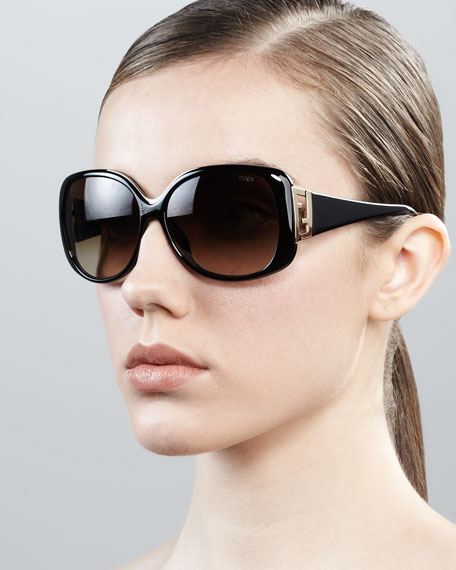 Oversized Zucca-Temple Sunglasses, Black