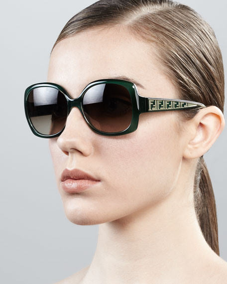 Oversized Zucca-Arm Sunglasses, Green