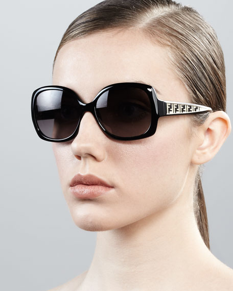 Metal Zucca Cat-Eye Sunglasses, Black