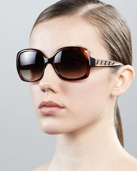 Metal Zucca Cat-Eye Sunglasses, Havana