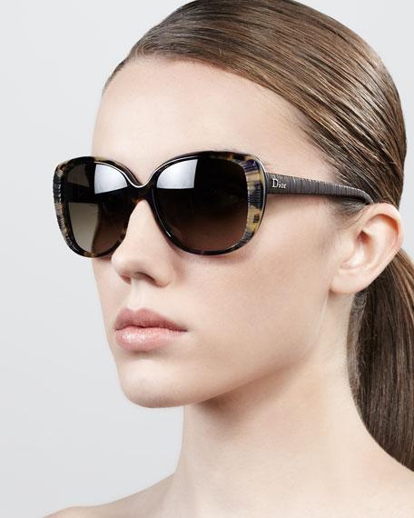 Taffeta Etched Soft-Cat-Eye Sunglasses, Brown Havana