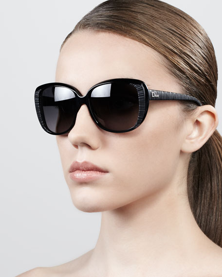 Taffeta Etched Cat-Eye Sunglasses, Black