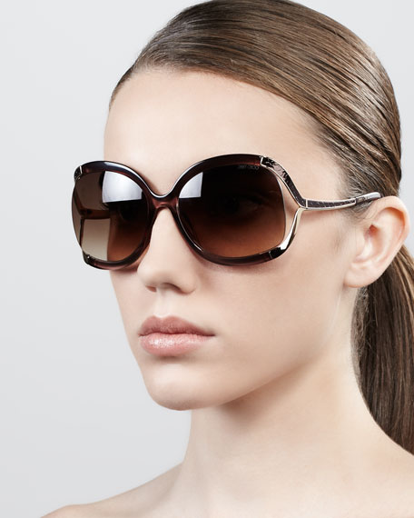 Beatrix Open-Temple Round Sunglasses, Brown