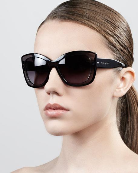 Thick-Rim Cat-Eye Sunglasses, Gray/Black