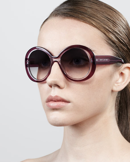 Thick-Rim Round Sunglasses, Violet/Clear
