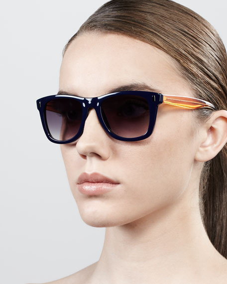Retro Rectangle Sunglasses, Blue