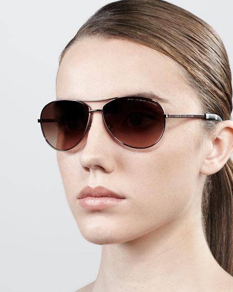 Aviator Sunglasses, Shiny Brown