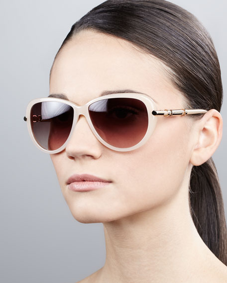 Semi-Round Gradient Butterfly Sunglasses, Shiny Beige