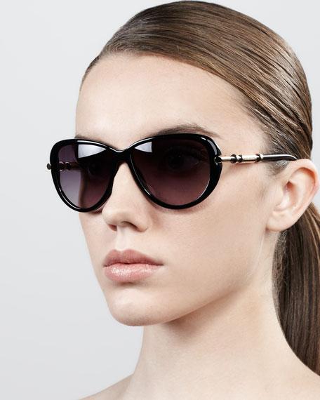 Semi-Round Gradient Butterfly Sunglasses, Shiny Black