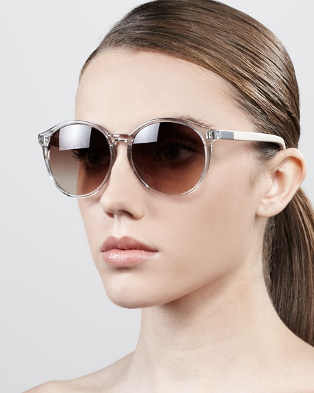 Oversized Round Sunglasses, Clear Gray