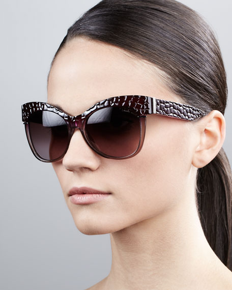 Pebble-Textured Cat-Eye Sunglasses, Purple