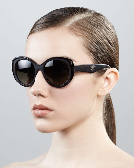 Oval Cat-Eye Sunglasses, Matte Havana